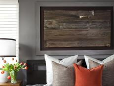 Transitional, Neutral Headboard With Custom Salvaged Wood Art Above Bed