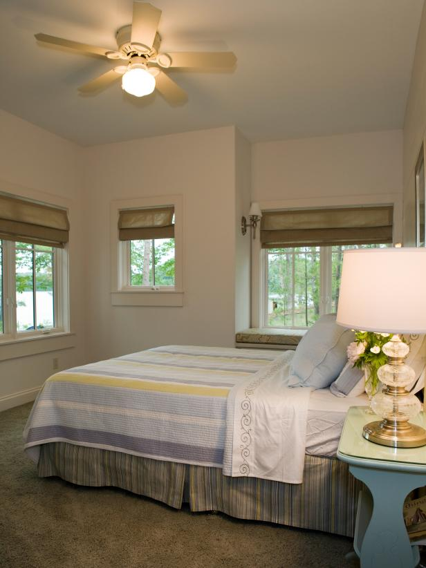 Guest Bedroom With Striped Bedding