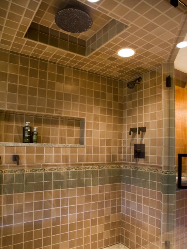 Traditional Shower With Floor-To-Ceiling Tile