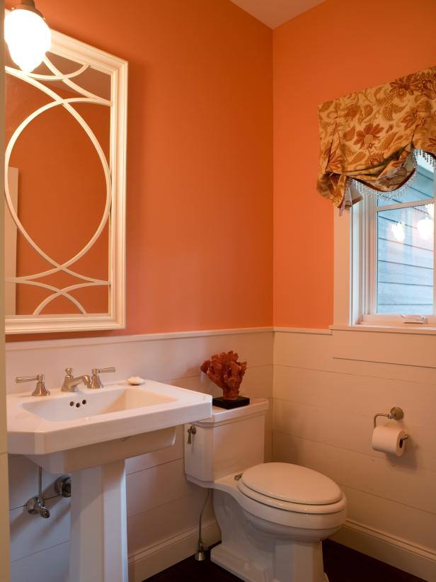 Pink, Transitional Bathroom With Pedestal Sink