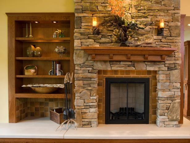 Stacked Stone Fireplace in Rustic Living Room