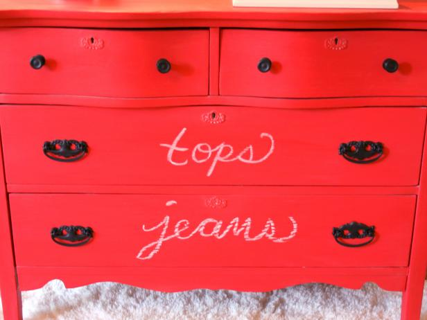 Chalkboard Painted Dresser With Messages on Drawers