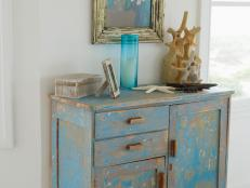 Antique Distressed Blue Chest