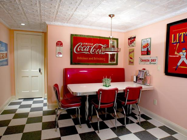 Fun Basement With Diner Decor