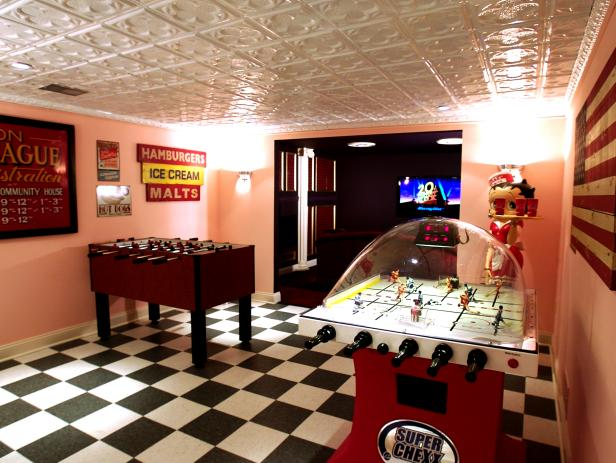 Diner Style Basement With Retro Game Room