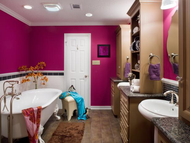 Fuchsia Bathroom With Black and White Wall Tile and Clawfoot Tub