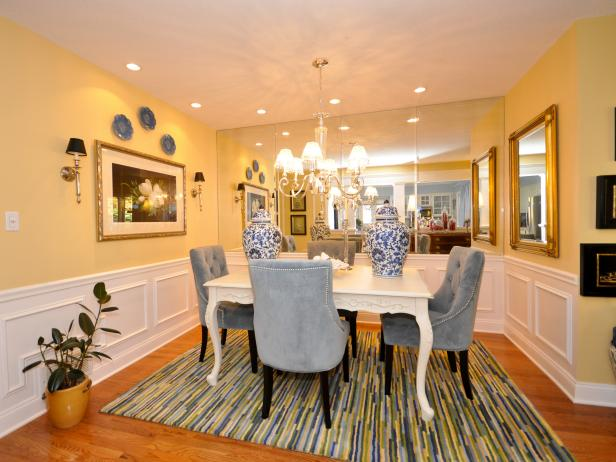 Transitional Yellow Dining Area With Blue Accents