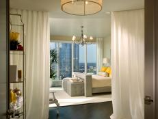 Master Bedroom With Curtain Room Divider