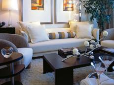 White Transitional Living Room