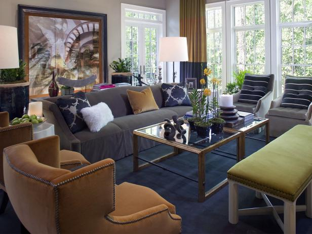 Transitional Living Space With Navy, Gray and Pear Accents