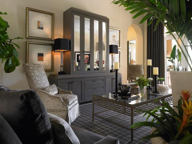 Living Room With Gray Mirrored Entertainment Center