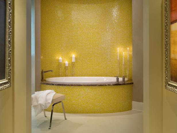 Master Bathroom With Yellow Mosaic Tile Tub