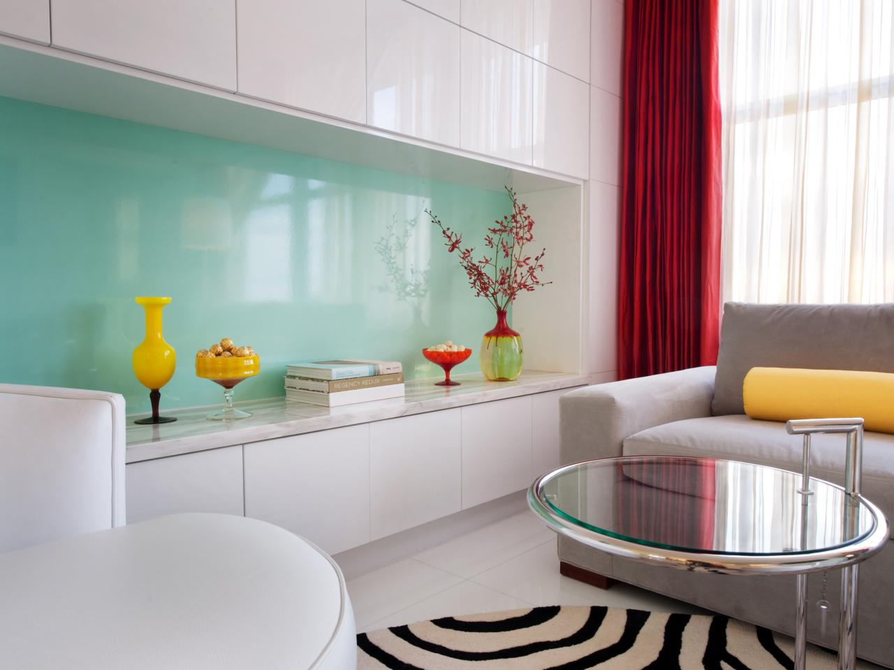Modern Living Room With White High Gloss Cabinetry