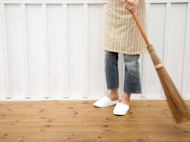 Sweeping Hardwood Floors With Natural Broom