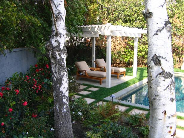Chaises Under White Pergola Beside Pool