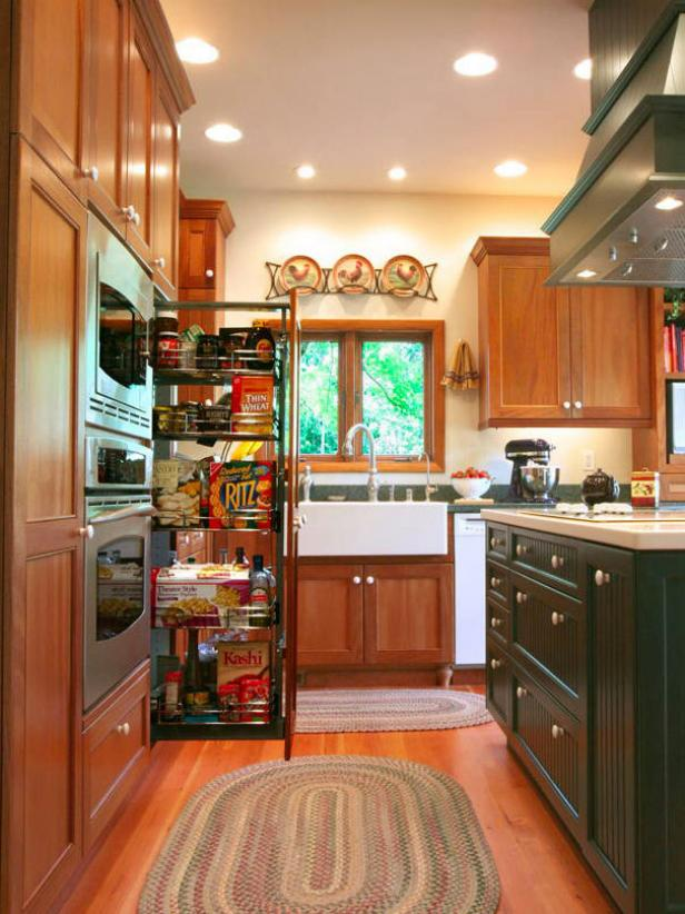 exceptional Pantry Designs For Small Kitchens #1: Small Country Kitchen With Pull Out Pantry Storage
