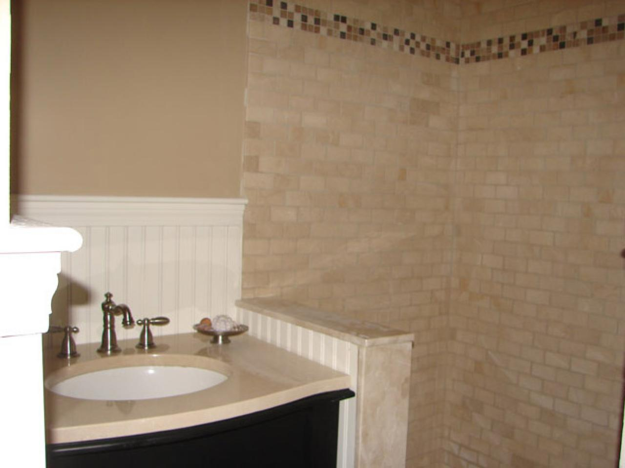 How to install tile in a bathroom shower hgtv - Installing tile around bathtub ...