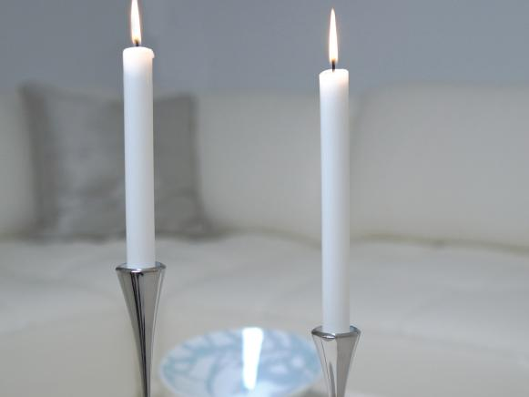 White Candlesticks in Modern Silver Holders