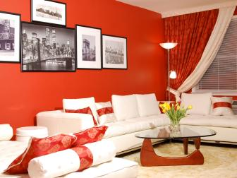 Red Transitional Living Room With White Furniture