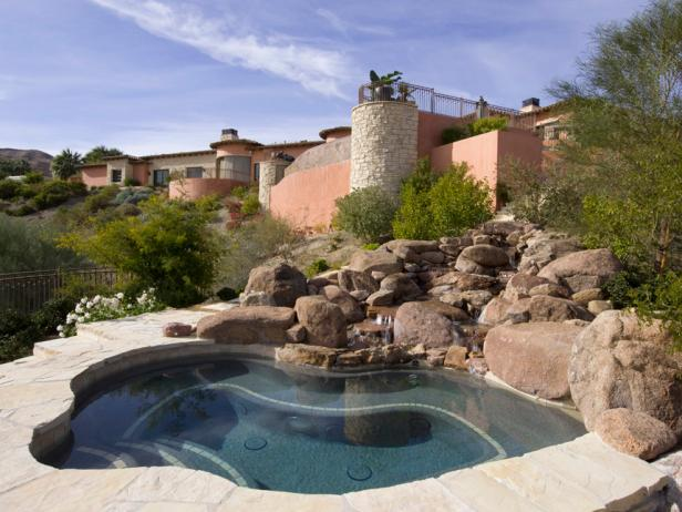 Lori Dennis Designed Outdoor Spa Features Stone Waterfall