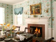 French Country Dining Room with Floral Wallpaper