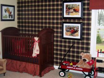 Boy's Nursery With Plaid Walls