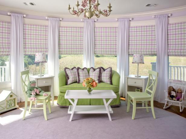 Girl's Room With Curved Wall of Windows and Lavender and Green Palette