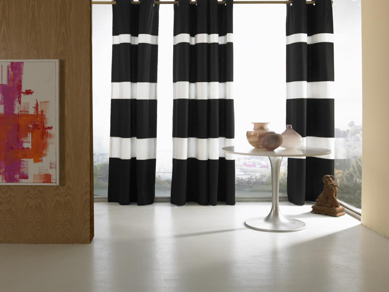15 stylish window treatments window treatments ideas Bold black and white striped curtains