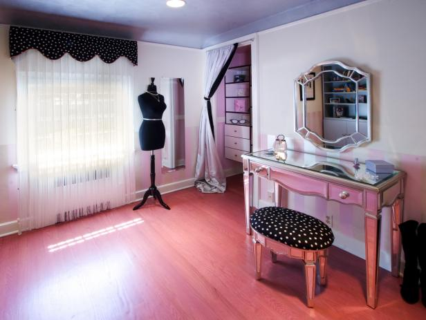 Dressing Room with Silver Vanity and Polka Dot Stool