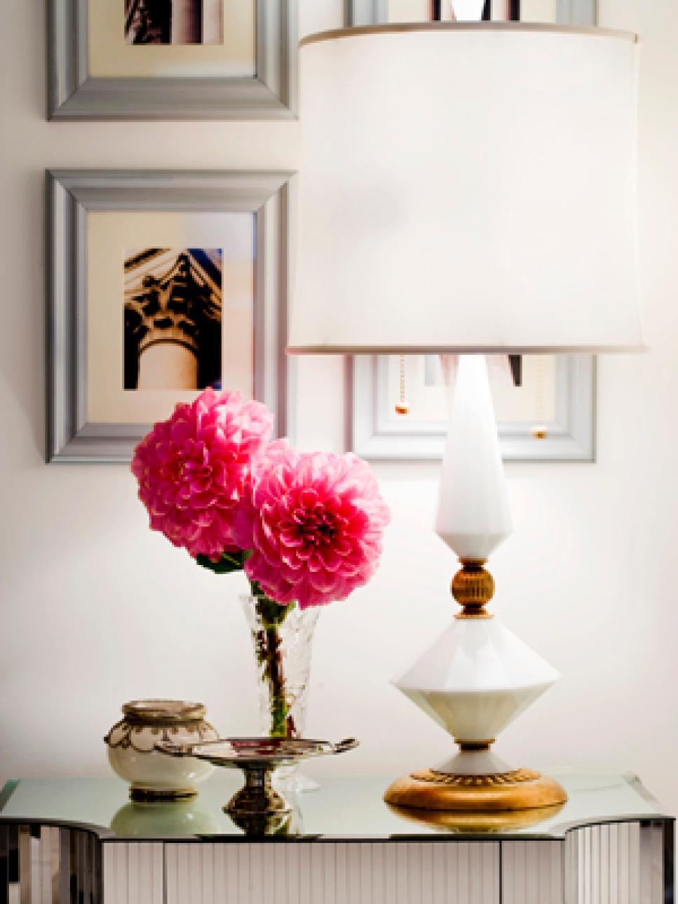 Easy breezy white lamps hgtv for Decor vignette
