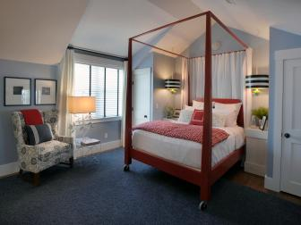 Blue Transitional Master Bedroom With Red Canopy Bed