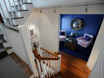 Stairway Landing Leading Into Blue Sitting Room