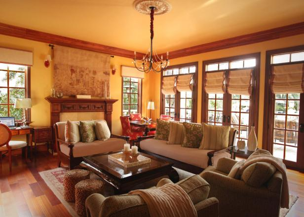 Rustic Yellow Living Room with French Doors
