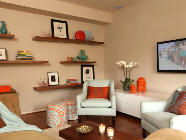 Neutral Contemporary Living Space With Orange Accents