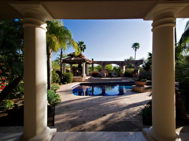 Pool With Red Tiled Gazebo, Palms & Colonnade