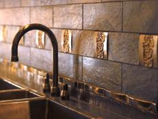 Bronze Leaf Motif Backsplash
