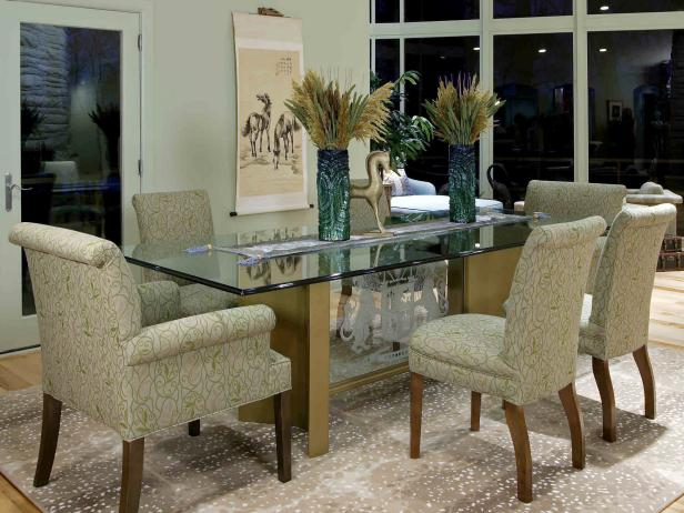 Dining Area With Etched Glass Table and Upholstered Dining Chairs