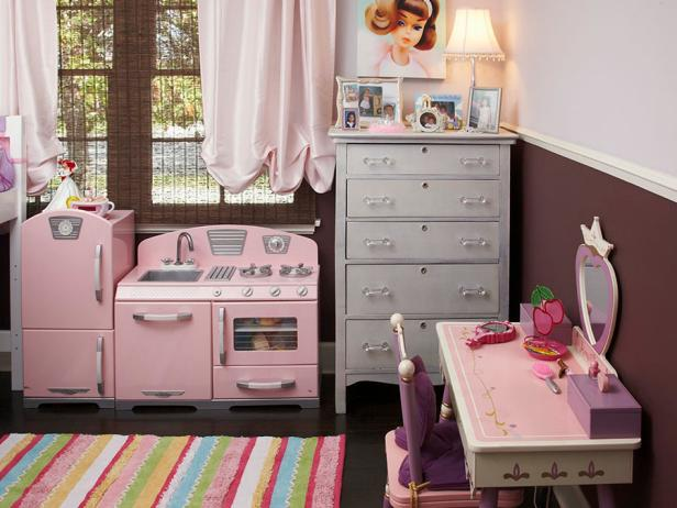 Pink Princess Room with Kitchen Toys.