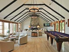 Great Room Seating and Pool Table With Vaulted Ceiling