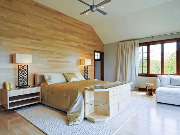 Neutral Contemporary Bedroom with Hardwood Wall