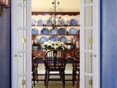 Traditional Dining Room With Staffordshire Dishware