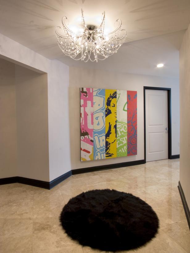 Tile Floor Foyer With Glass Chandelier