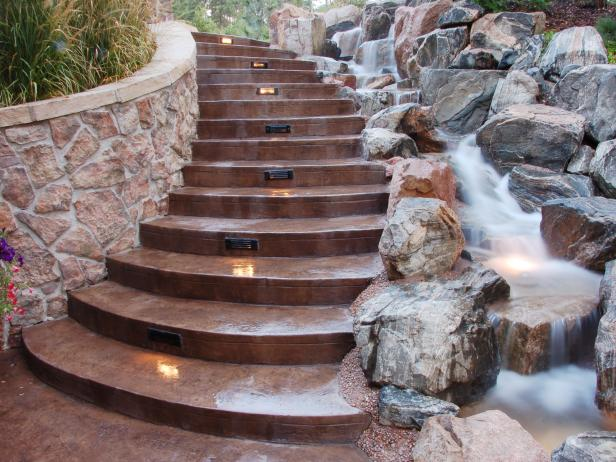 Outdoor Staircase With Built-In Lighting
