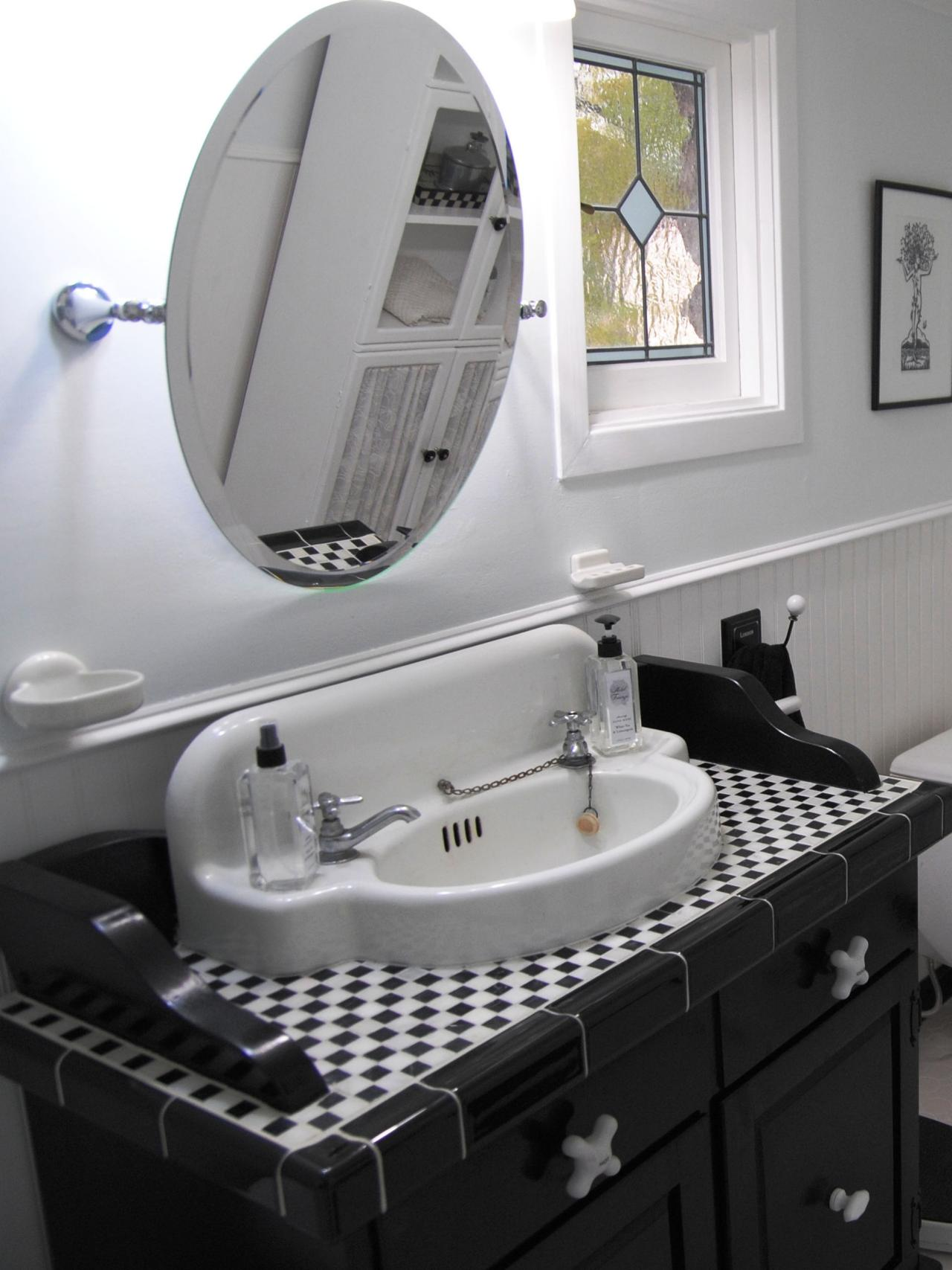 Converting an old dresser into a bathroom vanity hgtv - Bathroom vanities made from old dressers ...