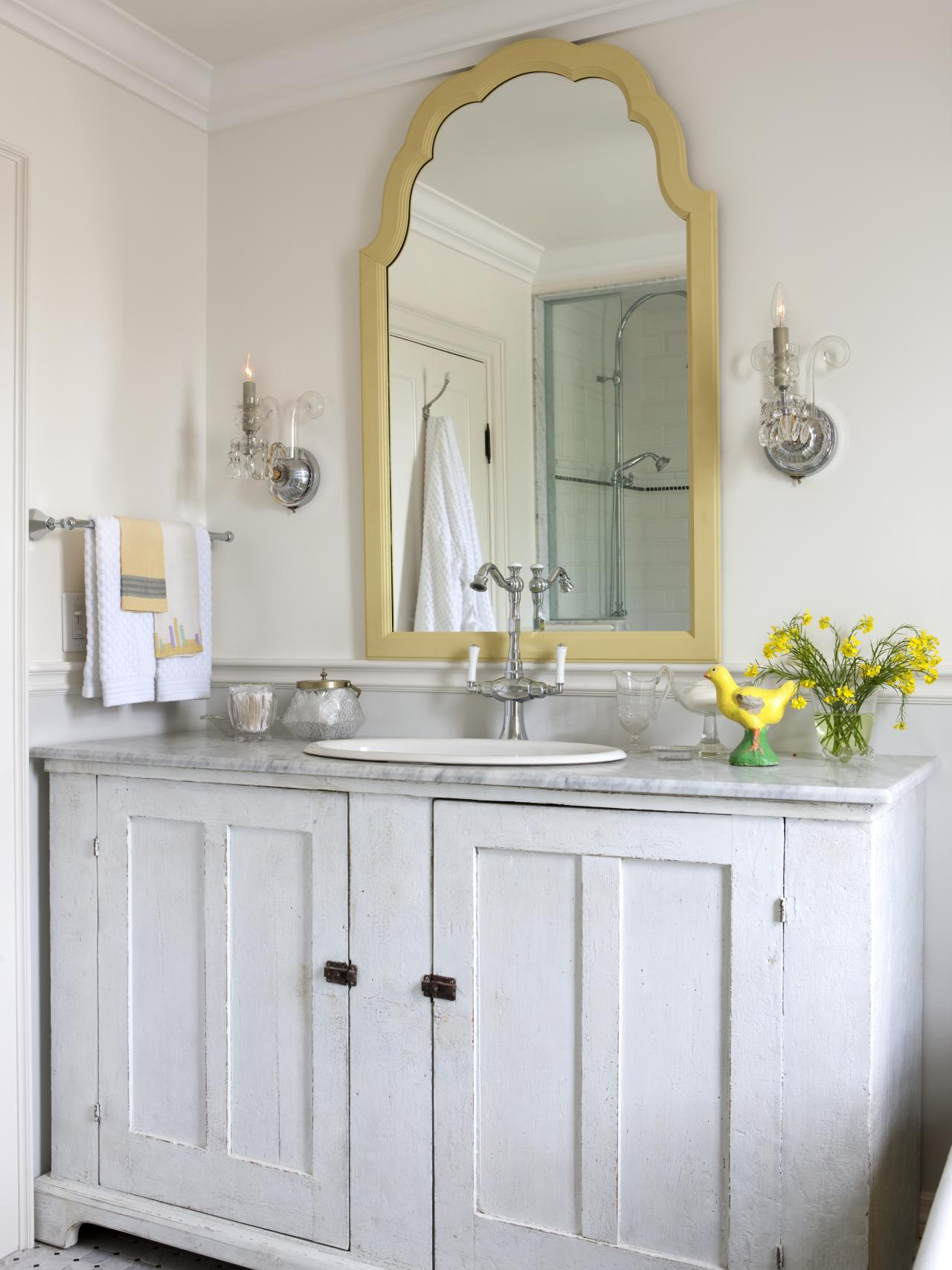 Traditional White Bathroom With Gold Trim Mirror And Gray