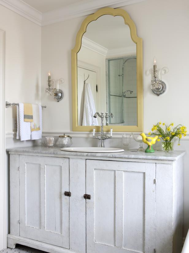 Traditional White Bathroom with Gray and Yellow Accents