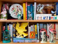 Bookcase With Ceramic Knick Knacks