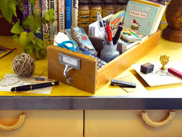 Small Drawers Repurposed as Desk Organizers