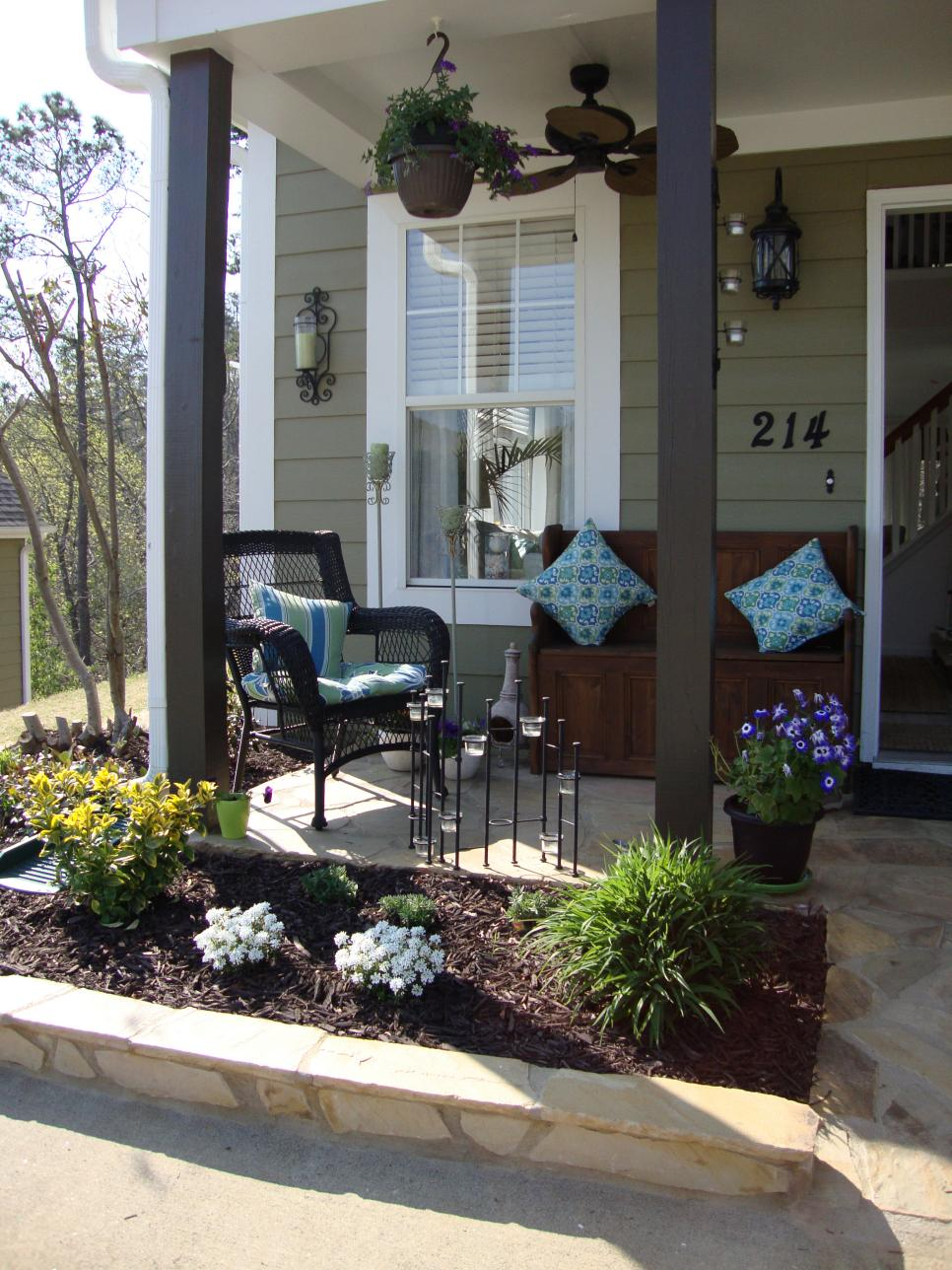 Eye catching entryways for summer hgtv for Front porch patio ideas