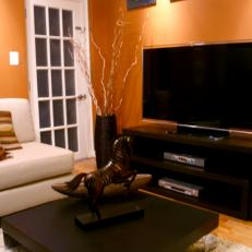 Orange Living Room With Black And White Accents